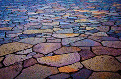 Coloured Pavement in Iceland Stock Photography