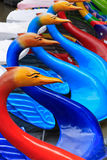 Coloured pedalos Royalty Free Stock Photos