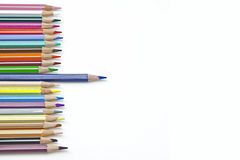 Coloured pencil. A line of pencils in several colours Royalty Free Stock Photos