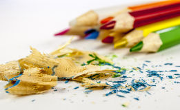Coloured pencil. In group on white background with filings stock photo