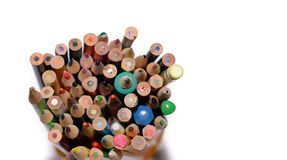 Coloured pencil. Detail of coloured pencil on white background Stock Image