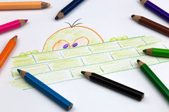 Coloured Pencil Drawing on White Paper Royalty Free Stock Photo