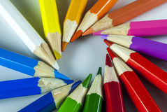 Coloured pencil. In group on white background royalty free stock image
