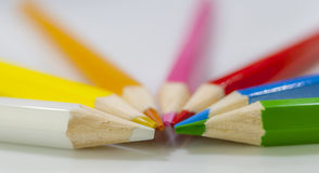 Coloured pencil. In group on white background royalty free stock photos