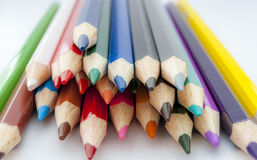 Coloured pencil. In group on white background stock photos