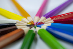 Coloured pencil. In group on white background stock photography