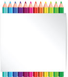 Coloured pencil poster sign background. Vector cartoon illustration on a white background of colouring pencils Stock Image