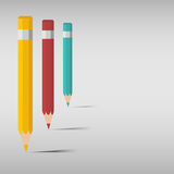 Coloured pencil with shadow Royalty Free Stock Images