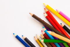 Coloured pencil. The coloured pencil on the white background stock photography