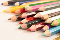 Coloured pencil. The coloured pencil on the white background stock photos