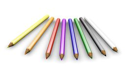 Coloured pencils. 3D render of coloured pencils Stock Photos