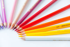 Coloured pencils. On the white background royalty free stock images