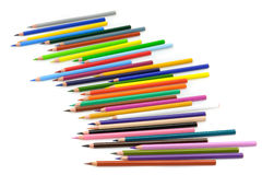 Coloured Pencils. Set of colored pencils on white background Royalty Free Stock Photos