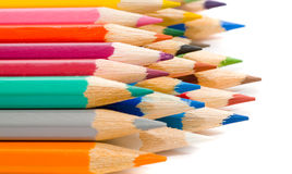 Coloured pencils. With shadow on white background royalty free stock photos
