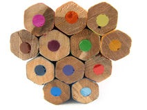 Coloured pencils. School and office articles: coloured pencils on white background royalty free stock images