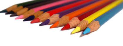 Coloured pencils. Isolated on a white background royalty free stock photo