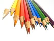 Coloured pencils. Detail of spectrum coloured pencils stock images