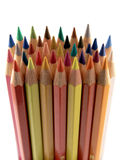 Coloured pencils. Many coloured pencils together in a bunch royalty free stock photo