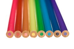 Coloured Pencils. Eight coloured pencils arranged parallel to one another Royalty Free Stock Photos