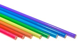 Coloured Pencils. Seven coloured pencils arranged parallel to one another Royalty Free Stock Images