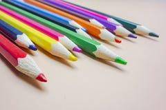 Coloured pencils arranged neatly royalty free stock photo