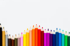 Coloured pencils Background. Coloured pencils isolated on white background Stock Image