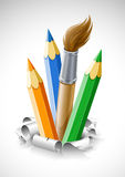 Coloured pencils and brush in torn paper. Illustration vector illustration