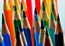 Coloured pencils. Bunch of coloured pencils in all rainbow colors Stock Photos