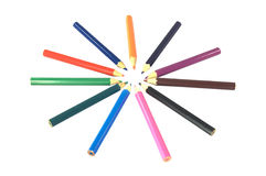 Coloured pencils in a circle Royalty Free Stock Photo