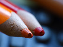 Coloured pencils. Close up of the coloured pencils royalty free stock image
