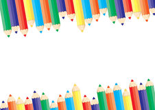 Coloured pencils collection. A collection of coloured pencils illustrated that could be used as a border Royalty Free Stock Images