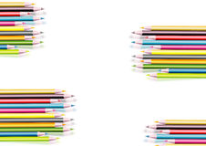 COLOURED PENCILS COLLECTION. A collection of coloured pencils illustrated Stock Image