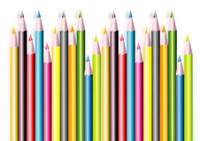 COLOURED PENCILS COLLECTION. A collection of coloured pencils illustrated Royalty Free Stock Image