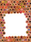 Coloured pencils composition background. Colored pencils border composition - frontal view Stock Photography
