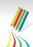 Coloured pencils drawing lines. On white space Royalty Free Stock Photo