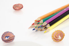 Coloured pencils. Isolated on white background Stock Images