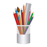 coloured pencils in jar icon Royalty Free Stock Image