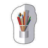 Coloured pencils in jar icon Stock Photo