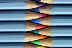 Coloured pencils macro Stock Photos
