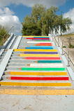 Coloured pencils painted on stairs in Poznan, Poland Stock Images