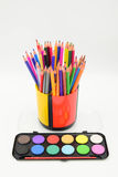 Coloured pencils and painting Royalty Free Stock Photo