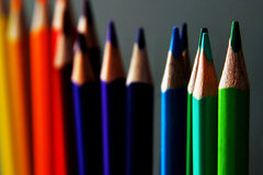 Coloured pencils. Palette of a sharpened coloured pencils in vibrant colours Royalty Free Stock Photo