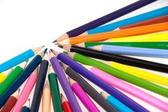 Coloured pencils pointing to one direction Royalty Free Stock Photo