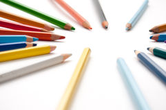 Coloured pencils pointing Stock Photography