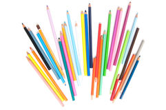 Coloured pencils rays. On white Royalty Free Stock Photo