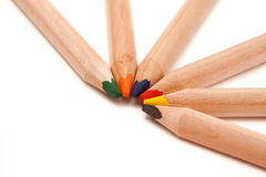 Coloured pencils in semi-circle Royalty Free Stock Image