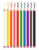 Coloured pencils set Stock Photos