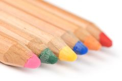 Coloured pencils with shadows Stock Images
