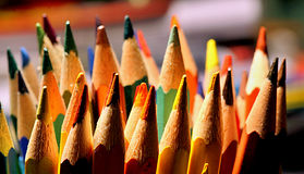 Coloured pencils. Shooted under  the lamp light Stock Photography