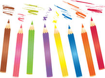 Coloured pencils. A vector illustration of several coloured pencils Stock Images